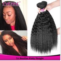 Grade 5A Kinky Straight Brazilian Hair Weave,3Pcs/lot Unprocessed Virgin Hair,Top Quality Aliexpress YVONNE Human Hair,Color 1B