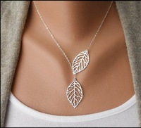 Europe and the United States jewelry fashion small pure and fresh and double leaf necklace+ Free shipping