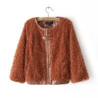 women clothing 2015 autumn winter new desigual long sleeve patchwork short desigual outwear coat casual jacket roupas femininas
