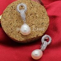 free shipping 8-9MM drop freshwater pearl studs earring rhinestone B94#
