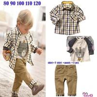 Spring baby boy clothing sets 2015 new plaid cotton kids clothes jacket t shirt pants 3pcs casual children suit roupas infantil