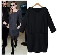 Hot Sale!! Women Winter Dress 2015 New Fashion Pure Color O-Neck Casual Dress Long Sleeve Evening Party Dresses Vestidos 3XL