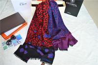2014 classic leopard Rose print big long scarf cape wool cashmere  elegant thermal Shawl Pashmina