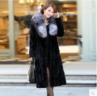 2015 Luxury faux fur mink women's coat new fashion women coat gorgeous upscale fur coat with natural fur coat long E050