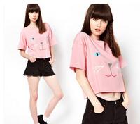 new arrive spring Girl's cute Cat t shirt fashion lady's pink short-sleeve t-shirt M L XL free shipping