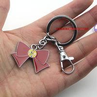 1pcs/lot Anime Cartton Sailor Moon bowknot Key chain Keychains Metal Figure Toy Key Ring Pendants