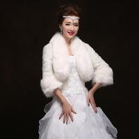2014 winter new thick wool shawl wedding bride wedding dress warm Korean white shawl coat