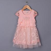 Baby Girls Korea Lace Foral Tulle Summer Dress, Princess Sweet Pink Wear, 4 Pcs/lot, Free Shipping
