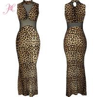 2014 Women Summer Dress High Neck Mesh Leopard Print Maxi Dress Sexy Women Long Dress Desigual