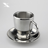 With Continental double stainless steel coffee.mug / coffee sets of cups fashion with coaster