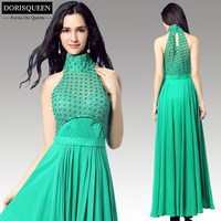 Free shipping new arrival sexy long ruffle Chiffon beaded high neck floor length emerald green sexy long prom dress 2015