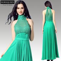 Free shipping new arrival sexy long ruffle Chiffon beaded high neck floor length emerald green sexy long prom dress 2015