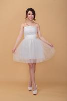 wholesale short paragraph bridesmaid dress A-line strapless knee-length evening dress  Cocktail dress