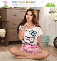Lingerie summer new cat Papa Bear Parure casual comfort milk silk pajamas Pyjamas