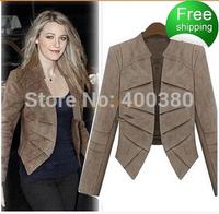 Fashion women's 2014 high quality slim women's outerwear thickening faux leather velvet blazer