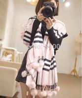 Hot-selling fashion Pashmina Wrap classic plaid rabbit fur cashmere hanging ball scarf Ultra Long