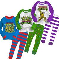 Baby Boys Winter Warm Mutant Ninja Turtles Pajamas Sleepwear Cartoon Suits Costumes Children Kids Sleepwear Long-sleeved +Pants