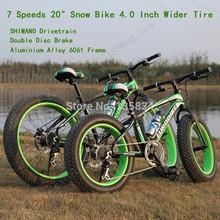 "20""* 4.0 Inch 10cm Widen Mud Knobby Tire Bicicleta  7 Speed Terrain Bicicleta Snow Bicycle Fat Bike Bicicletas Mountain Bike 20(China (Mainland))"