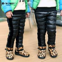 3-12Y girls winter windproof pants children's warm plus velvet & down trousers thicken Baby Kid Down pant,S39#