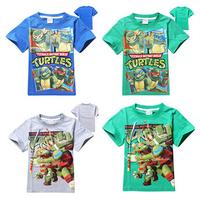 New Arrival Free shipping children clothing boys kids Teenage Mutant Ninja Turtles TMNT short sleeve t shirt top blue grey green