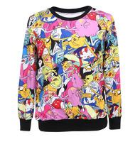 new fashion cartoon 3D printing couple women's hoodies womens sweatshirts 2015 women's clothing Dropship XY018