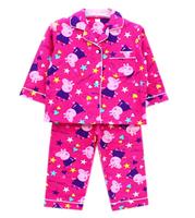 free shipping 2015 new arrival Peppa Pig girl long sleeve top + pants COTTON flannel flannelette pyjamas pajamas sleepwear Pink