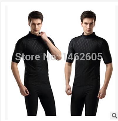 Men's Black wetsuit Pattern wetsuit top vest short sleeve M-2XL swimsuit Rowing(China (Mainland))