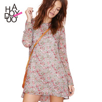 Vintage rose print chiffon ruffle dresses loose long sleeved dress 2015 spring fashion women casual dress  haoduoyi