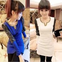 Lace long-sleeve basic shirt autumn women's plus size top women's long johns long design t-shirt
