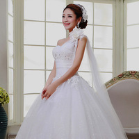 2015 new wedding dresses Romantic princess white lace wedding dress Continental sexy long dress embroidered lace pattern bandage