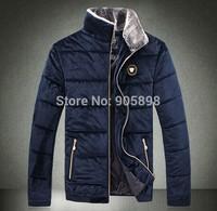 2015 new arrive fashion slim men's jacket Casual Velvet Fur collar men's coat mens clothing plus size cotton coat blue 3512