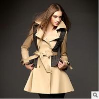 Women Fashion European Stylish V-Collar Slim Trench Jacket Female, Fashion Double Breasted Long Windbreaker Outerwear