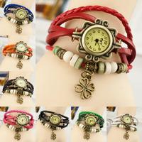 Free Shippping 6 Colors Women Fashion Quartz Rope Leather Vintage Watch,bracelet WristWatch Flower pendant WG#