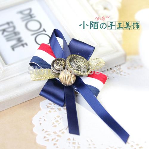 Small street handmade brooch Korea Korean female jewelry free shipping high-grade British naval air corsage button badge(China (Mainland))