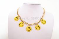 3pcs/lot latest fashion women jewelry accessories smile smiling face charm necklaces 2015