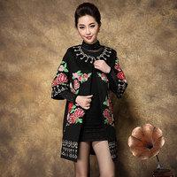 Free Shipping Large Size Women's Clothing Vintage Heavy Embroidery Key Printing Medium-Long Trench Coat Elegant S-XXXXL