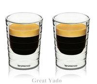 Set of 2pcs hand blown double wall Nespresso coffee glass mug espresso coffee cup thermal glass 80ml