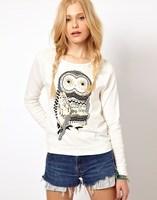 Hot Sale New 2015 autumn winter long sleeve Owl animal print cotton hoodies sweatshirts women t-shirt top white