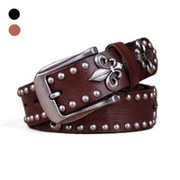 vintage men's genuine leather belts 100% cowhide black/brown classic jean pin buckle belts punk skull belts