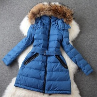2015 autumn winter new arrival women's brand solid color high quality fur hooded warm outwear down coat free shipping LX280