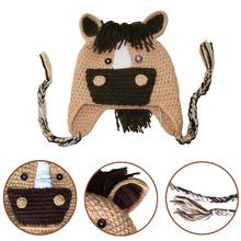 Hot Sale! Top Quality Fashion Knitted Children Hat Cute Cartoon Horse Patchwork Warm Winter Cap Kids Headwear Brown(China (Mainland))