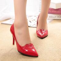 2015 Thin Heel Pointed Women's stiletto Pumps High Heels Vintage Sexy vermilion border Women Shoes work
