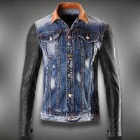 Top dsq denim jacket men PU leather sleeve jackets Korean Slim tide d2 denim coat