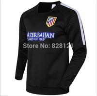2014 New  Alt Madrid Black Long Sleeve Training Suit Hoodies Football Tracksuit 14 15 Soccer Sweathershirts Active Clothes
