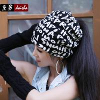 Hat female autumn and winter fashion turban headband winter hat pocket dual-use muffler scarf air conditioner cap