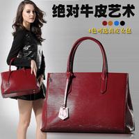 2015 female genuine leather handbag top quality leather messenger bag embossed fashion big women bags