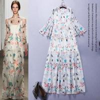 High Quality New Fashion Spring Summer 2015 Long Dress Women Cape Poncho 100% Silk Print Sun Coat+Print Long Dress Sun(1Set)2pc