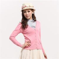 International brand women cardigan versatile upscale  knitted sweater plain colors long warm sweater with neck women