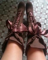 2014 lacing knee-length high-heeled martin boots