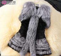 2015 New winter Fur sleeveless vest hem coat
